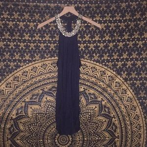 Navy Blue top with beads